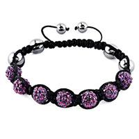 Bracelets - shamballa bracelet amethyst purple crystal stone balls beaded inspired adjustable bracelets Image.