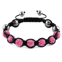KSEB SHEB Items - shamballa bracelet rose pink crystal stone balls beaded inspired adjustable bracelets Image.