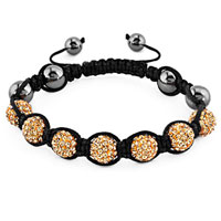 Bracelets - shamballa bracelet topaz yellow crystal stone balls beaded inspired adjustable bracelets Image.