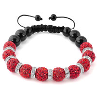 KSEB SHEB Items - shamballa bracelet ruby red swarovski elements cz crystal stone disco balls beaded bracelets Image.