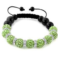 KSEB SHEB Items - shamballa bracelet peridot green swarovski elements cz crystal stone disco balls beaded bracelets Image.