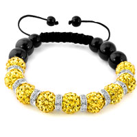 KSEB SHEB Items - shamballa bracelet lemon yellow swarovski elements cz crystal stone disco balls beaded bracelets Image.