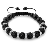 KSEB SHEB Items - shamballa bracelet black swarovski elements cz crystal stone disco balls beaded bracelets Image.