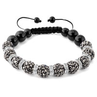 KSEB SHEB Items - shamballa bracelet gray swarovski elements cz crystal stone disco balls beaded bracelets Image.