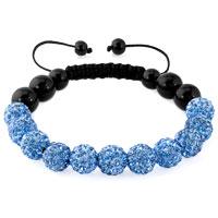 Bracelets - aquamarine blue shamballa bracelet swarovski crystal cz stone disco balls beaded bracelets Image.