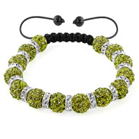KSEB SHEB Items - shamballa bracelet emerald green silver crystal disco balls lace adjustable Image.