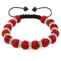 Bracelets - shamballa bracelet light red silver crystal disco balls lace adjustable Image.
