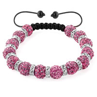 KSEB SHEB Items - shamballa bracelet rose pink silver crystal disco balls lace adjustable Image.