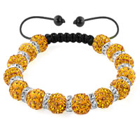KSEB SHEB Items - shamballa bracelet topaz yellow silver crystal disco balls lace adjustable Image.