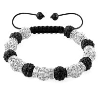 KSEB SHEB Items - shamballa bracelet black white silver crystal disco balls lace adjustable Image.