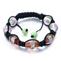 New Year Deals - shamballa bracelet round oval red green pattern beads Image.