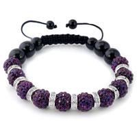 Bracelets - shamballa bracelet amethyst purple swarovski elements cz crystal stone disco balls beaded bracelets Image.