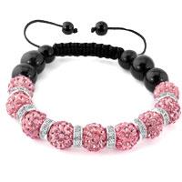 KSEB SHEB Items - shamballa bracelet pink swarovski elements cz crystal stone disco balls beaded bracelets Image.