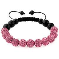 KSEB SHEB Items - pink color shamballa bracelet swarovski crystal cz stone disco balls beaded bracelets Image.