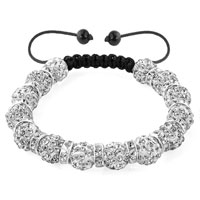 KSEB SHEB Items - shamballa bracelet clear white silver crystal disco balls lace adjustable Image.