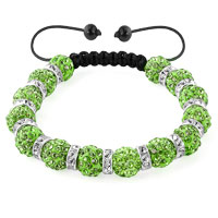 KSEB SHEB Items - shamballa bracelet peridot green silver crystal disco balls lace adjustable Image.