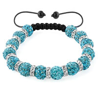 KSEB SHEB Items - shamballa bracelet blue topaz silver crystal disco balls lace adjustable Image.