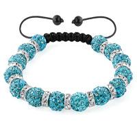 KSEB SHEB Items - shamballa bracelet blue topaz silver crystal disco balls lace adjustable Image.