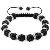 KSEB SHEB Items - shamballa bracelet classic black silver crystal disco balls lace adjustable Image.
