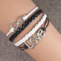 Bracelets - infinity bracelets sideways love white black braided leather rope bangle bracelet Image.