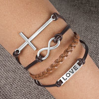 Bracelets - infinity bracelets sideways love white black braided leather rope bangle bracelet Image.
