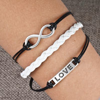 Bracelets - infinity bracelets love sideways cross brown braided leather rope bangle bracelet Image.