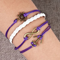 Bracelets - infinity bracelets anchor sideways wheel purple braided leather rope bangle bracelet Image.