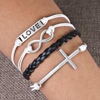 Bracelets - infinity bracelets love sideways cross black braided leather rope bangle bracelet Image.