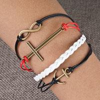 Bracelets - infinity bracelets anchor sideways cross color braided leather rope bangle bracelet Image.
