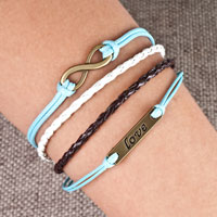 Bracelets - infinity bracelets sideways love color braided leather rope bangle bracelet Image.