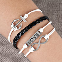 Bracelets - infinity bracelets anchor sideways love black braided leather rope bangle bracelet Image.