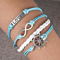 Man's Jewelry - nautical wheel sideways infinity bracelets love blue braided leather rope bangle bracelet Image.
