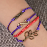 Bracelets - infinity bracelets love sideways tree of life color braided leather rope bangle bracelet Image.