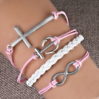 Bracelets - infinity bracelets anchor sideways cross pink braided leather rope bangle bracelet Image.