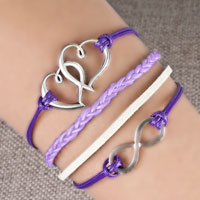 Bracelets - infinity bracelets sideways heart love purple braided leather rope bangle bracelet Image.