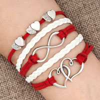 Bracelets - iced out sideways infinity open hearts in hearts red white braided leather rope bracelet Image.