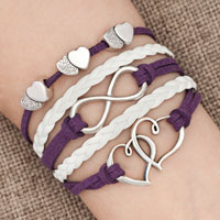 Bracelets - iced out sideways infinity open hearts in hearts purple white braided leather rope bracelet Image.