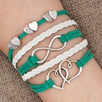 Bracelets - iced out sideways infinity open hearts in hearts green white braided leather rope bracelet Image.