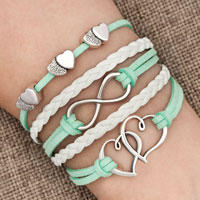 Bracelets - iced out sideways infinity open hearts in hearts light green white braided leather rope bracelet Image.