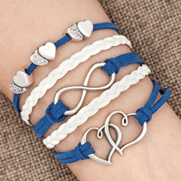 Bracelets - iced out sideways infinity open hearts in hearts deep blue white braided leather rope bracelet Image.