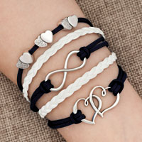 Bracelets - iced out sideways infinity open hearts in hearts blue white braided leather rope bracelet Image.