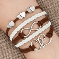 Bracelets - iced out sideways infinity open hearts in hearts brown white braided leather rope bracelet Image.