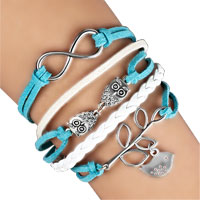 Bracelets - infinity bracelets owl sideways tree of life ocean blue braided leather rope bangle bracelet Image.