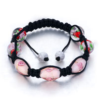 New Year Deals - shamballa bracelet round oval pink pattern beads crystal Image.