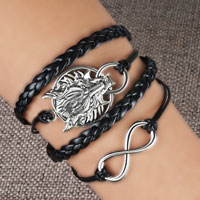 Bracelets - infinity bracelets sideways hoop animal head black braided leather rope bangle bracelet Image.