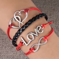 Bracelets - infinity bracelets sideways heart love color braided leather rope bangle bracelet Image.