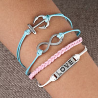 Bracelets - infinity bracelets anchor sideways love color braided leather rope bangle bracelet Image.