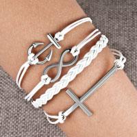 Bracelets - infinity bracelets anchor sideways cross white braided leather rope bangle bracelet Image.
