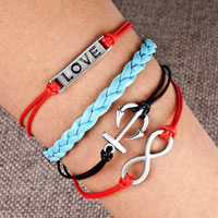 Man's Jewelry - nautical anchor sideways infinity bracelets love color braided leather rope bangle bracelet Image.