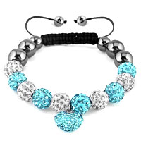 KSEB SHEB Items - shamballa bracelet ocean blue heart charm silver crystal disco balls lace adjustable Image.